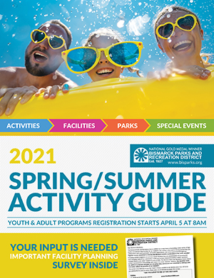 Cover of the 2021 Spring/Summer Activity Guide, including a photo of a happy family with fun sunglasses on.