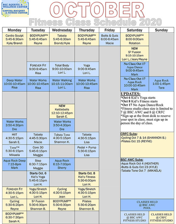 Schedule displaying Group Fitness Classes