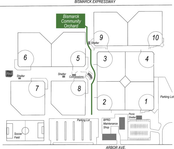 Location map of where to find the Community Orchard.