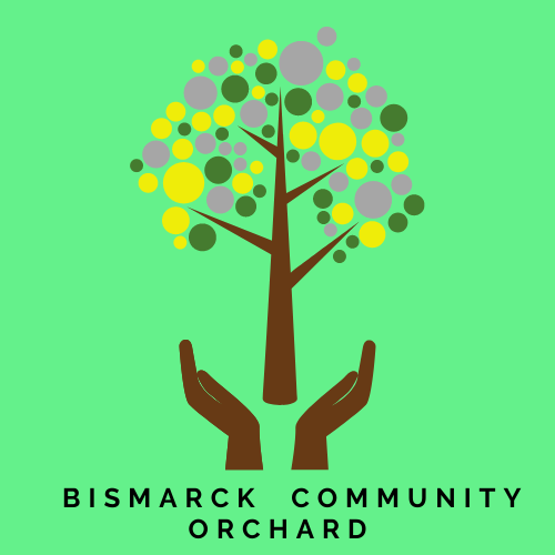 Bismarck Community Orchard logo. A tree with hands.