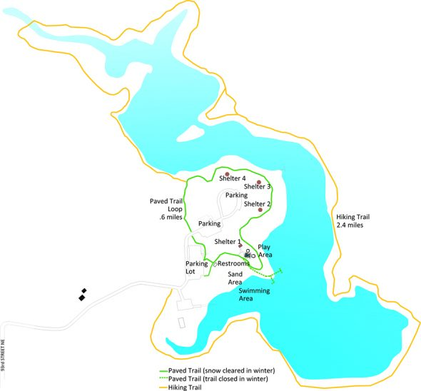 Map of the McDowell Dam Recreation Area.