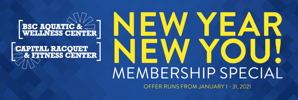 Graphic with the words New Year, New You! Membership Special. Offer runs from January 1-31, 2021.