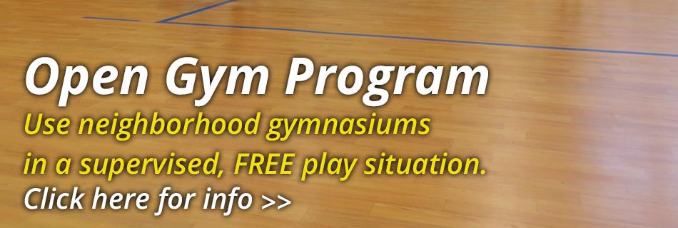 Open Gym Program, wood floor of gym